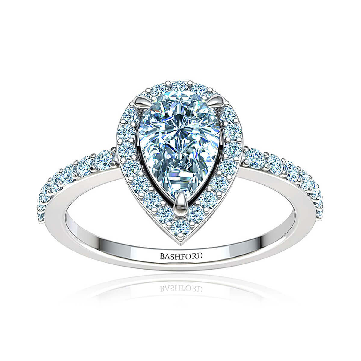Abirose Moissanite Ring  (with 2 Carat  Pear Forever One)