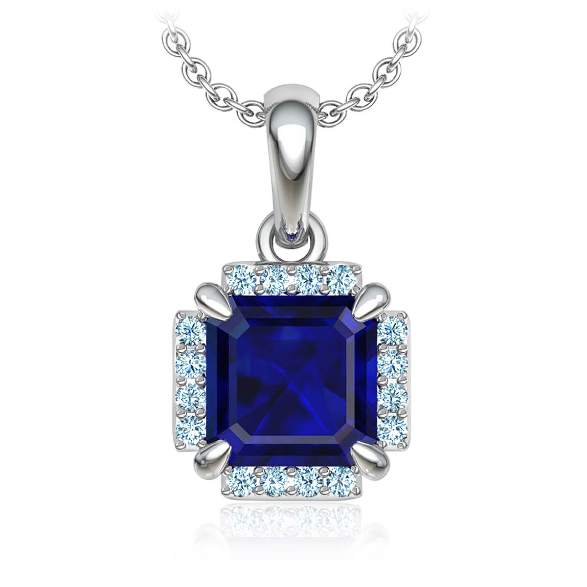 Frances Blue Sapphire and Diamond Necklace