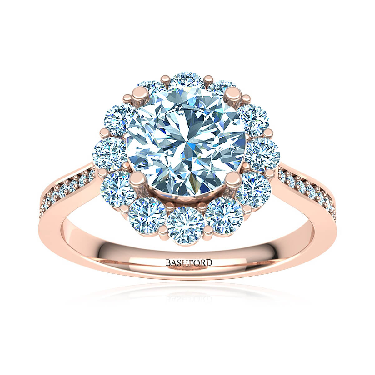 Fleur Blossom Moissanite Ring   (with 1 1/2 Carat Round Forever One H&A)