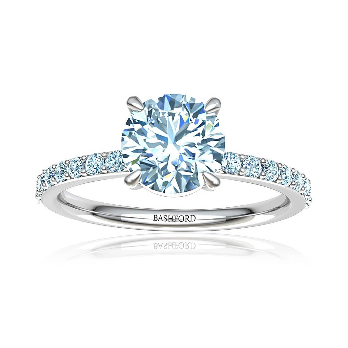 Talitha Diamond Ring (with VVS2, F,  7/8 Carat Round Diamond)