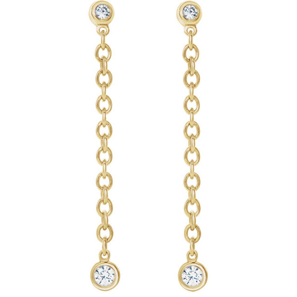 Bezel Set Chain Earrings