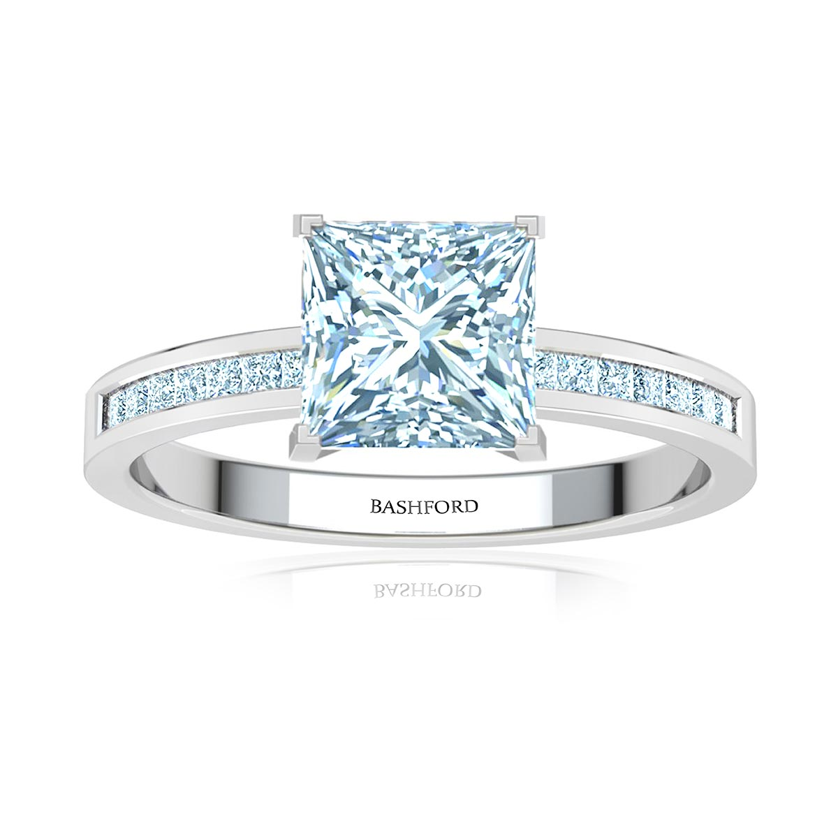 Ari Diamond Ring (with SI1, D, 1/2 Carat Princess Diamond)