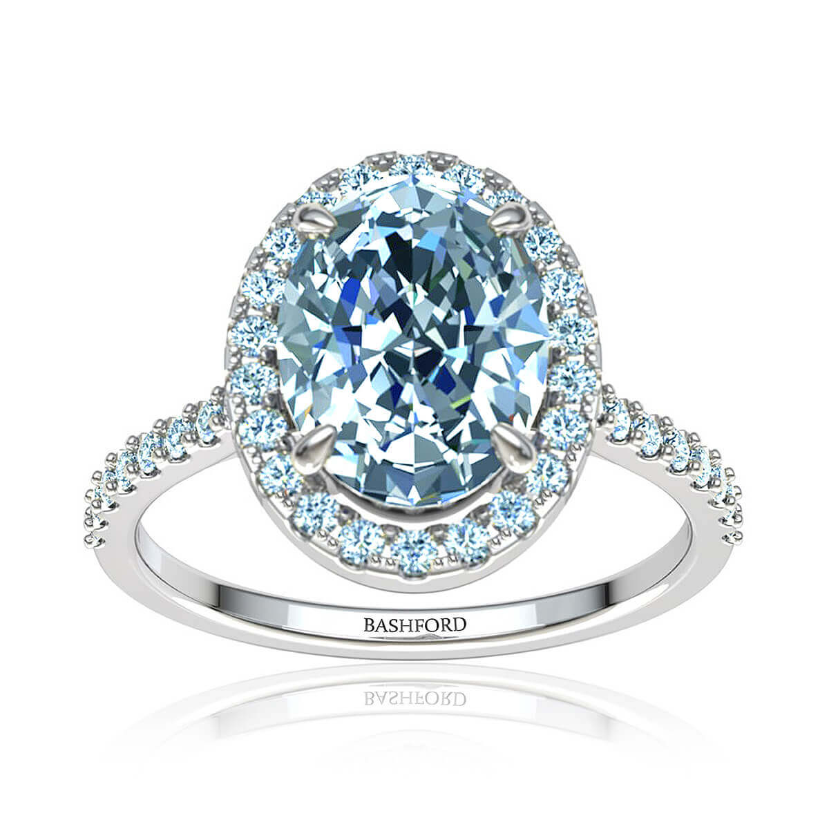 Solana Diamond Ring (with VS2, F, 7/8 Carat Oval Diamond)