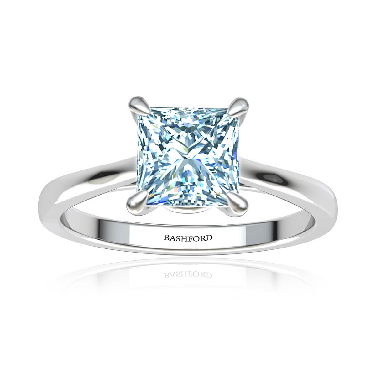 Spica Moissanite Ring (with 1 3/4 Carat Square Forever One)