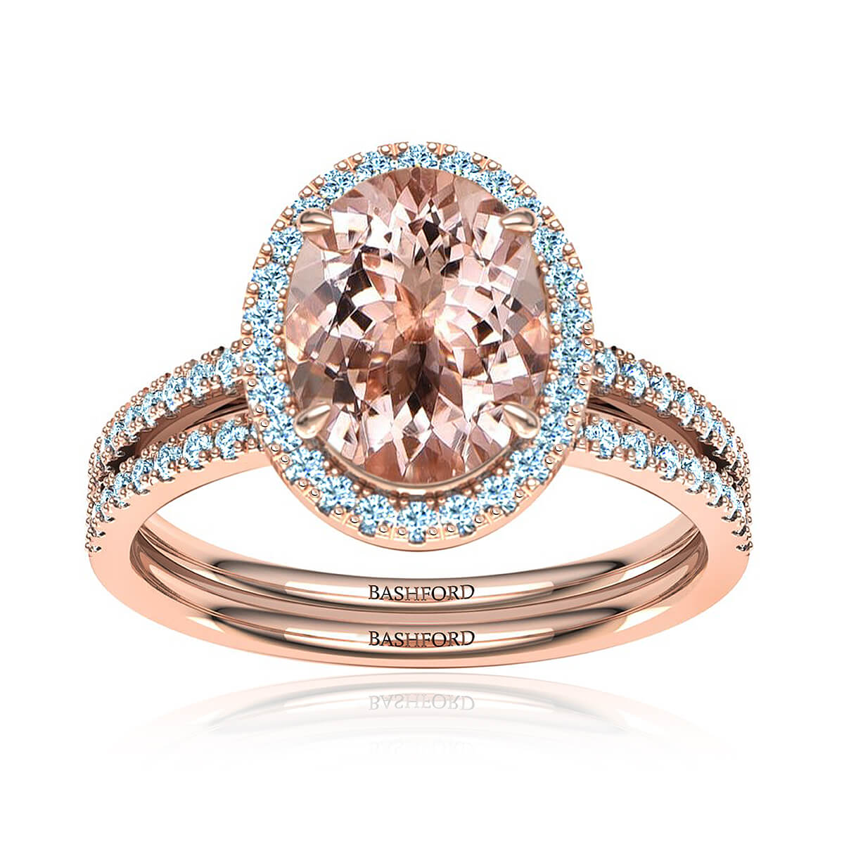 Abigail Morganite Matched Set (with 2 1/3 Carat Oval Morganite)