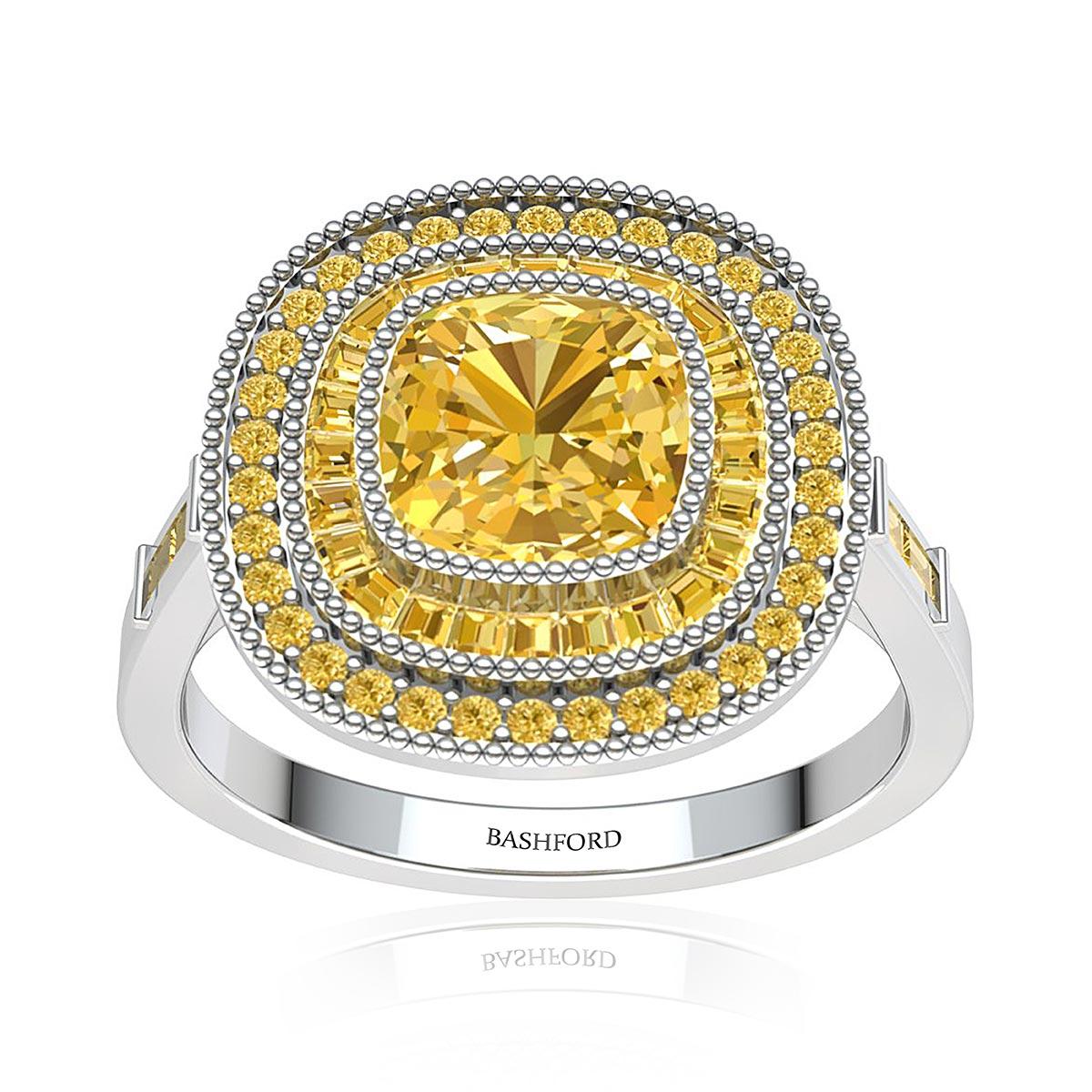 Gaillardia Sapphire Ring (with 7x7 Cushion Yellow Sapphire)