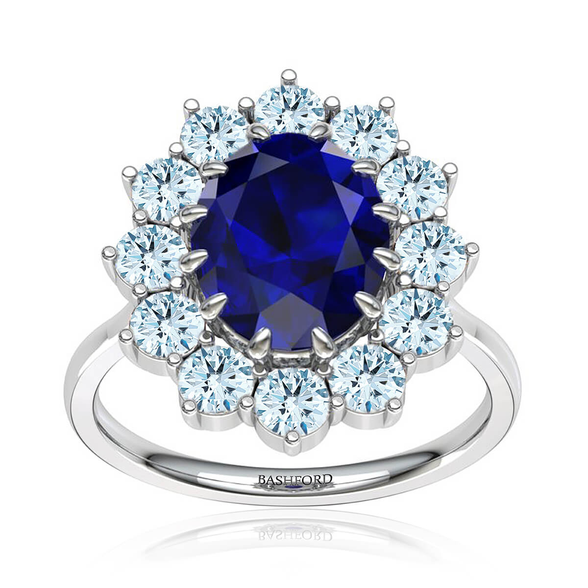 Isadora Sapphire Ring (with 8 x 6 Oval Blue Sapphire)