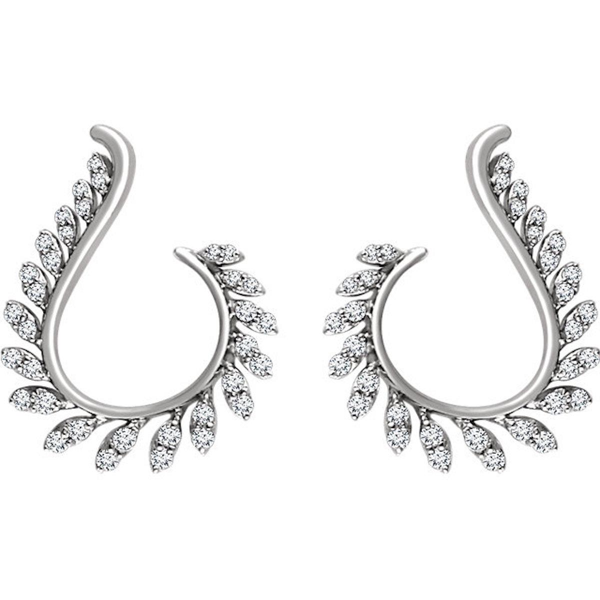 Leaf 1/2 Diamond Earrings