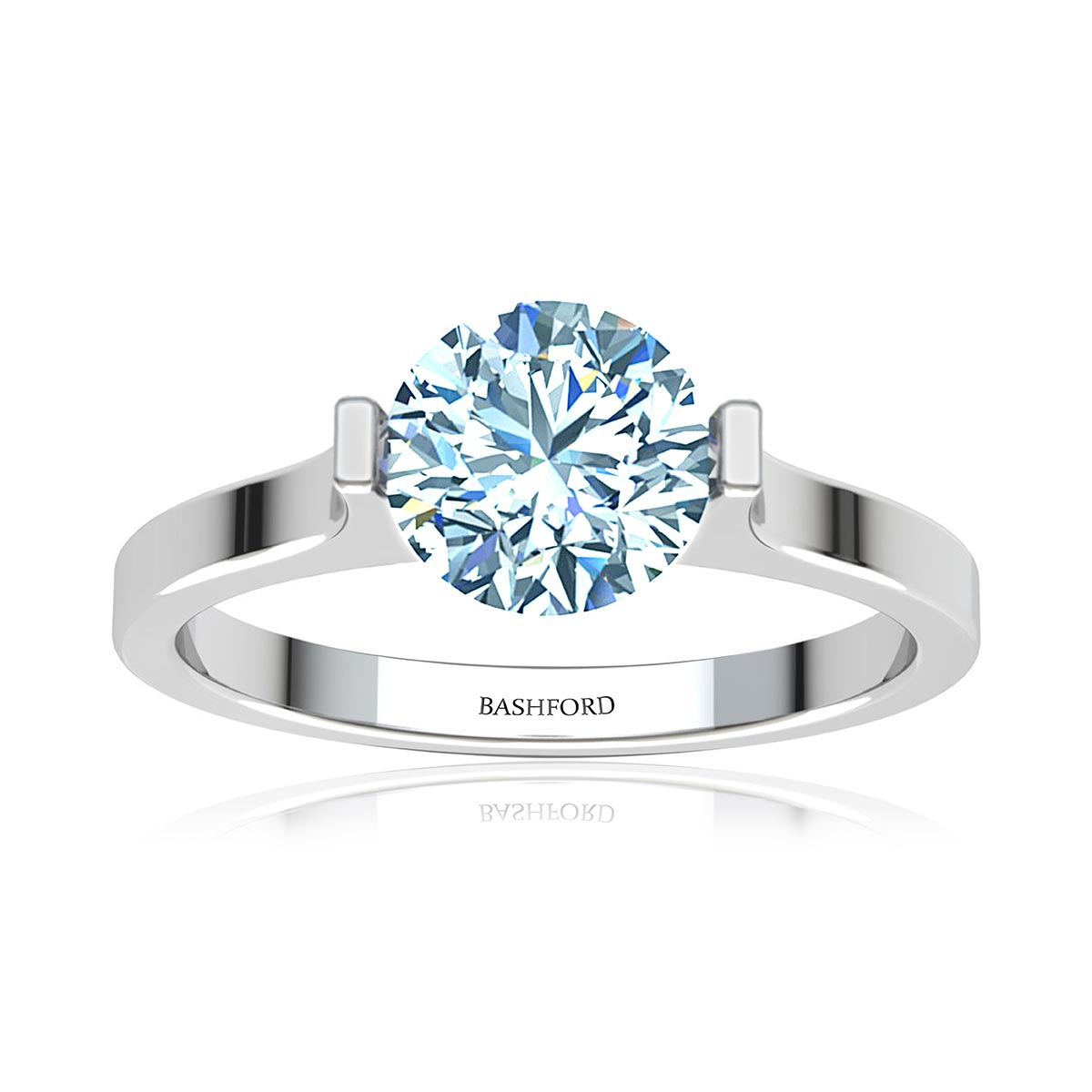 Mira Moissanite Ring  (with 1 Carat Round Forever One)