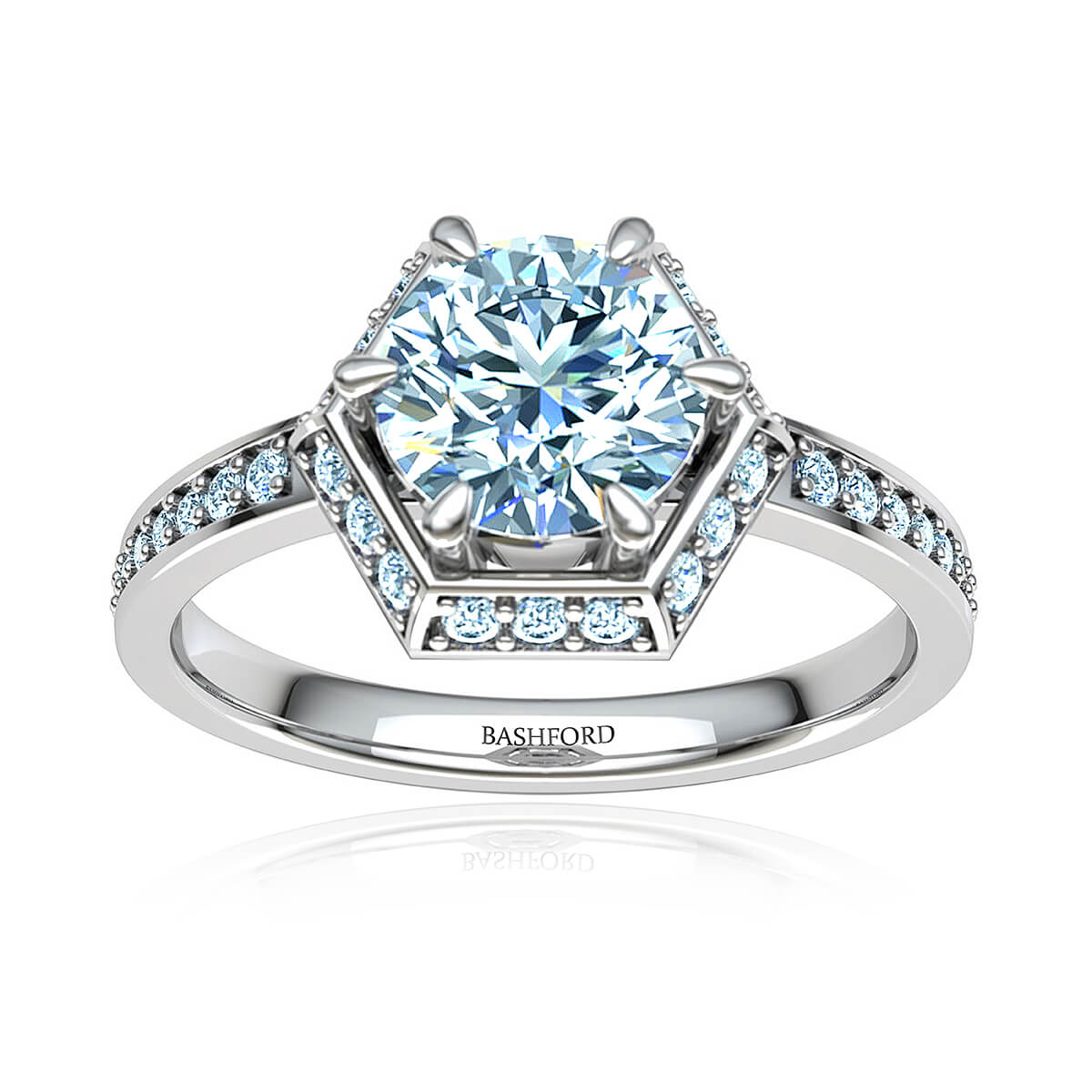 Winterberry Moissanite Ring (with 1 Carat Round Forever One)