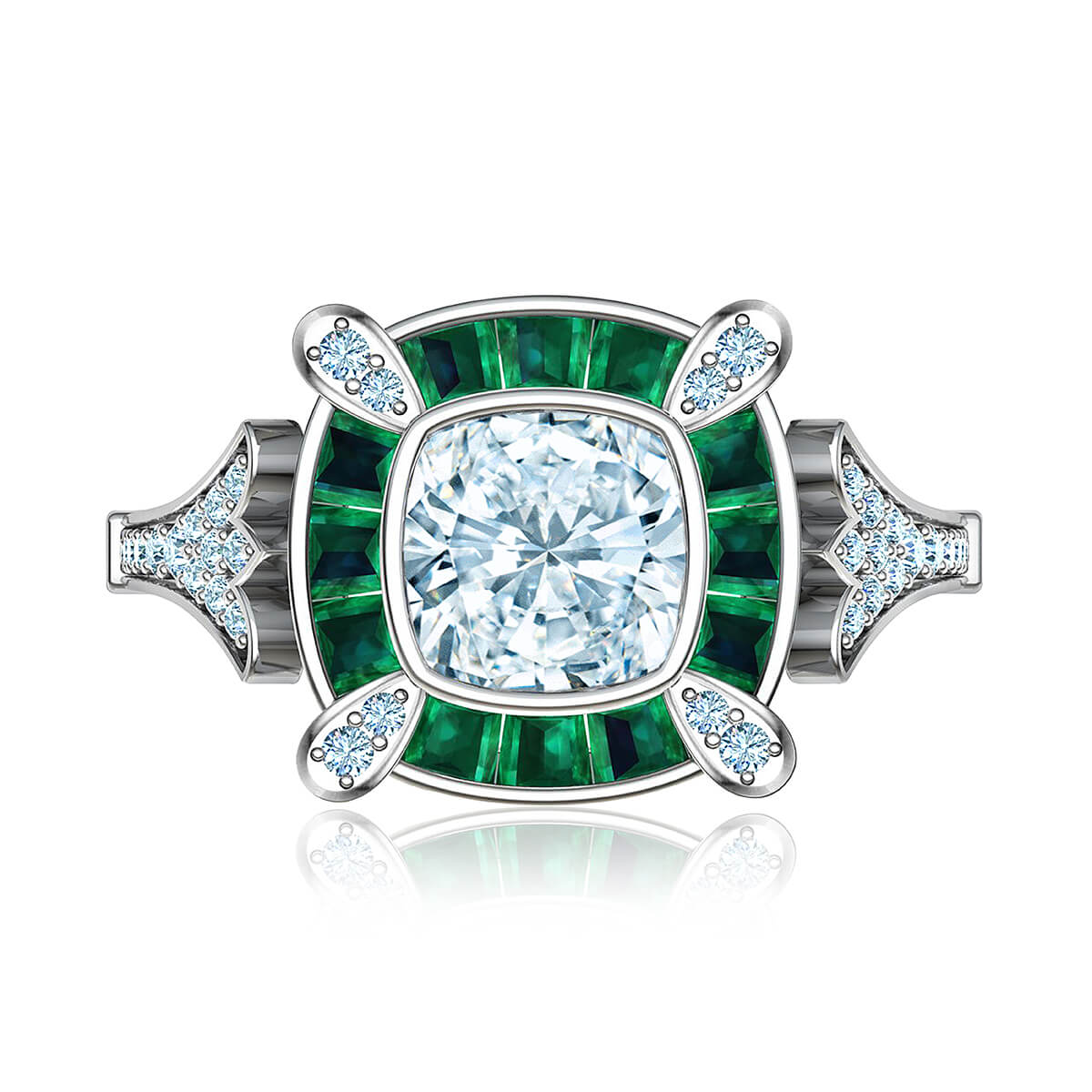Athaliah Diamond Ring with Emerald Accents