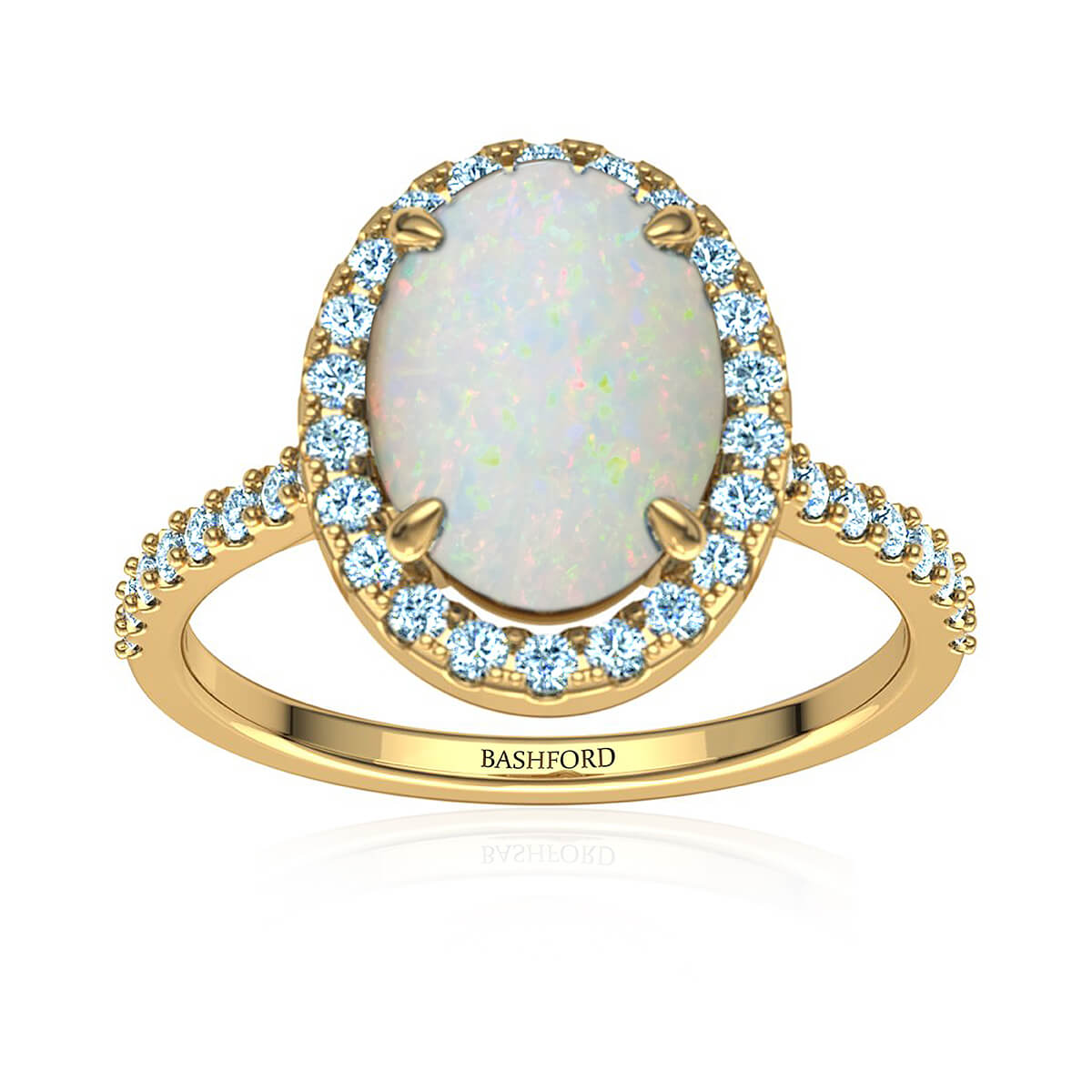 Upala White Opal and Diamond Ring