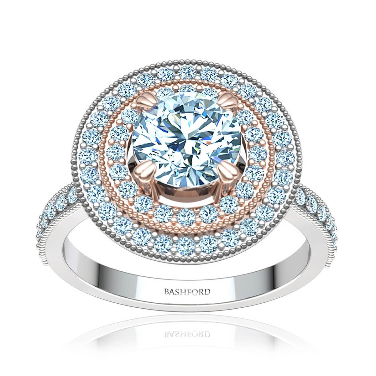 Peach Blossom Diamond Ring (with SI1, F, 1/2 Carat Round Diamond)