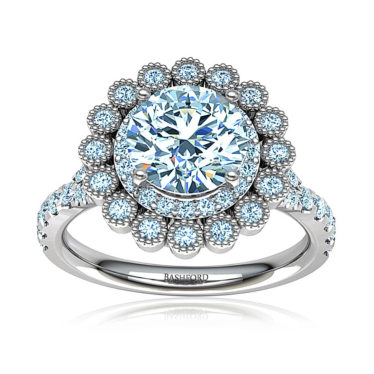 Tularosa Moissanite Ring (with 8.5 mm Round Forever One H&A)