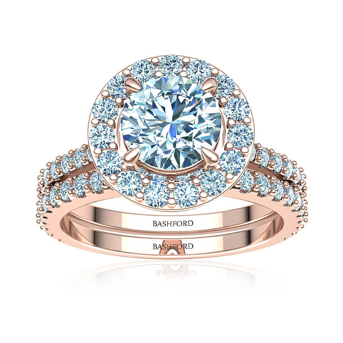 Fleur de Lis Matched Set (with VVS1, D, 7/8 Carat Round Diamond)