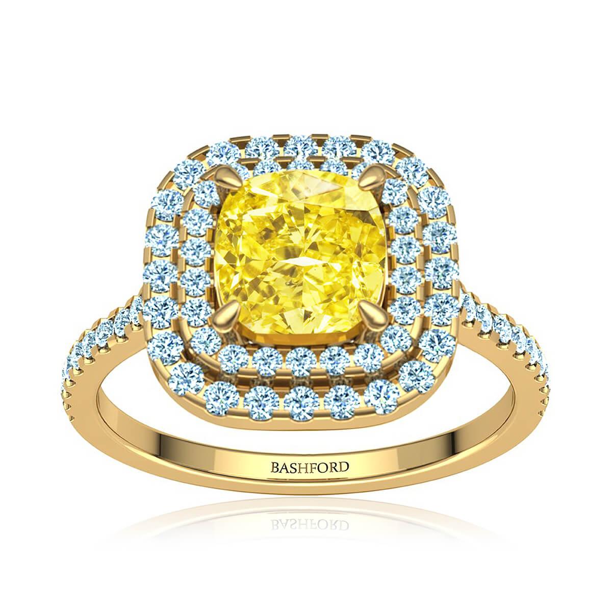 Marilou Yellow Moissanite Ring (with 2 1/2 Carat Cushion Moissanite)