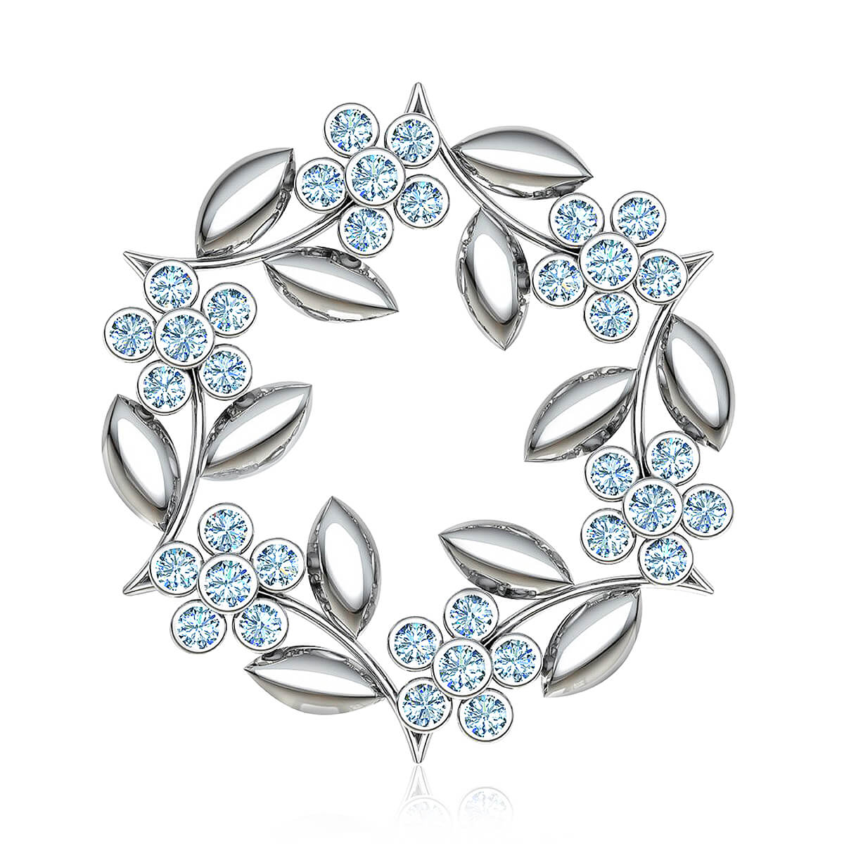 Gumamela Flowers Diamond Brooch (2 CT. TW.)