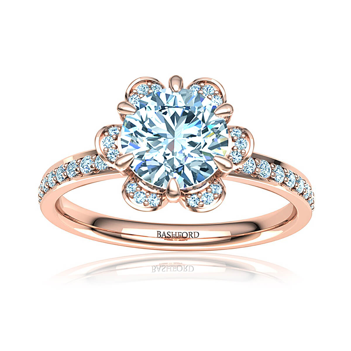 Blue Columbine Moissanite Ring (with 2 Carat Round Forever One)