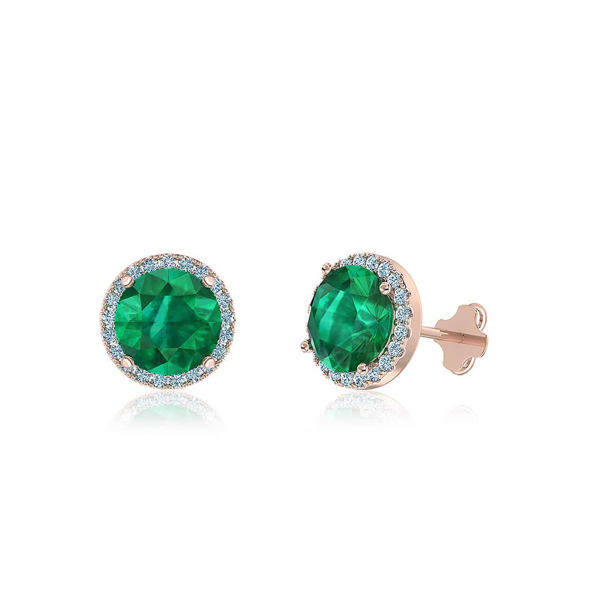 Cleopatra Emerald Halo Diamond Earrings