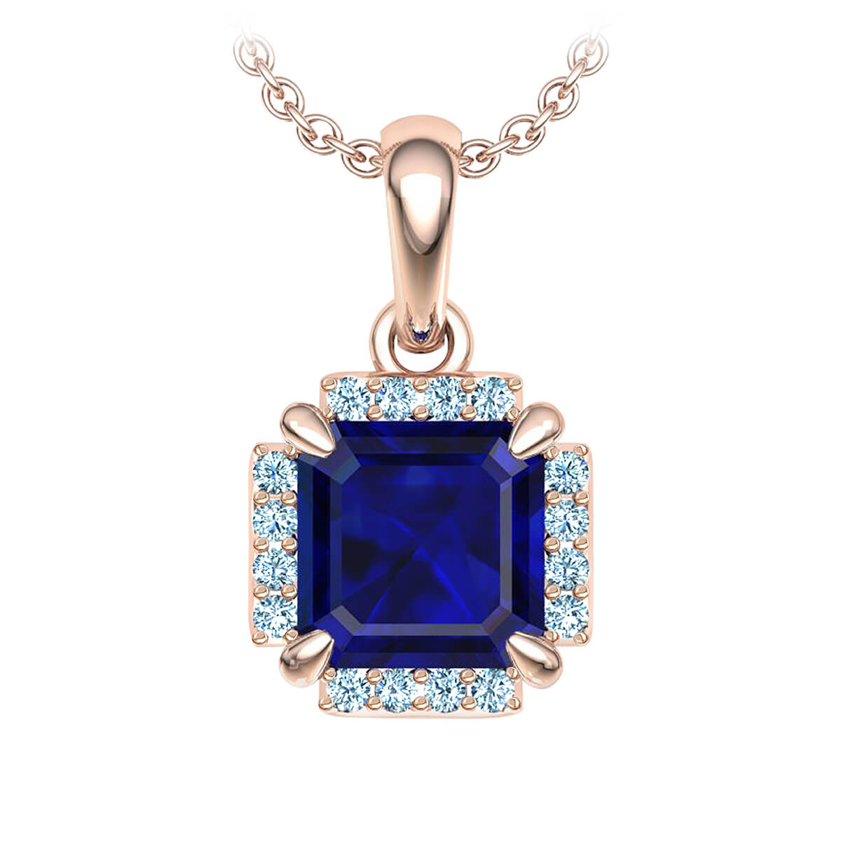 Frances Blue Sapphire and Diamond Necklace