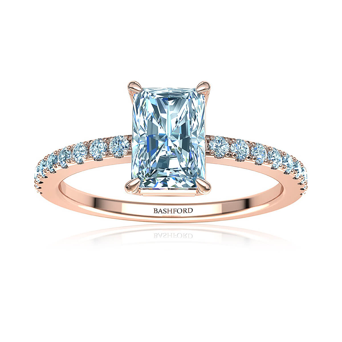 Capricia Diamond Ring (with VS2, E, 1 Carat Radiant Diamond)