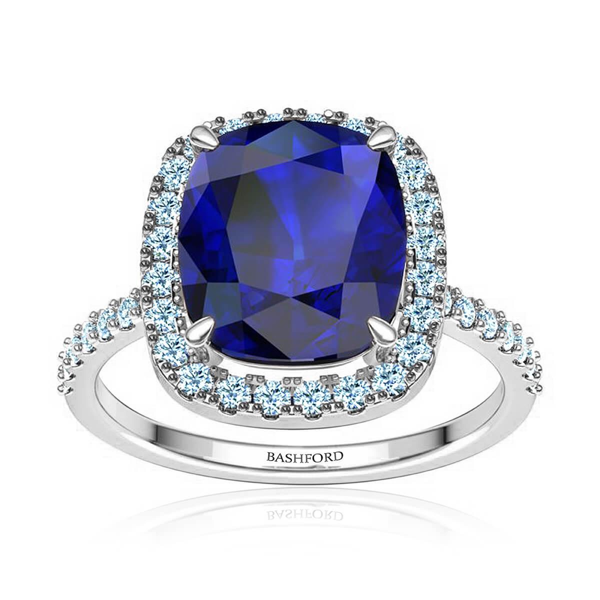 Gloria Sapphire Ring (with 8 x 6 Cushion Blue Sapphire)