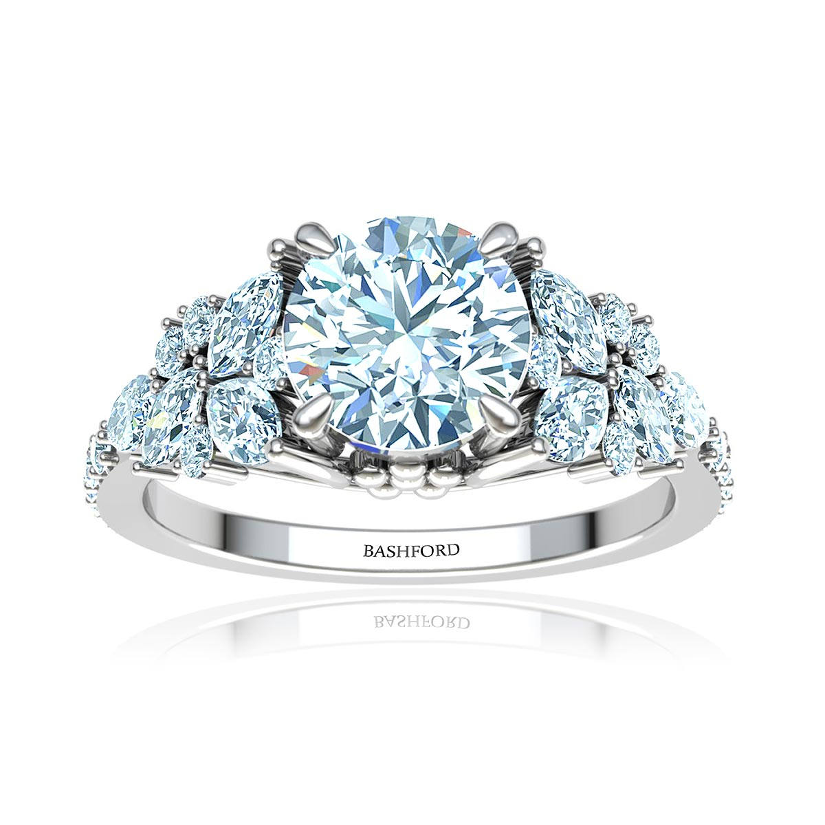 Adhara Diamond Ring (with VVS2, E, 1/2 Carat Round Diamond)
