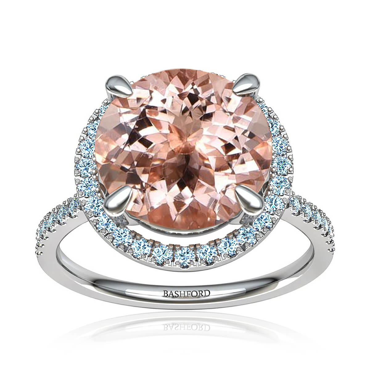 Rosalyn Morganite Ring (with 4 1/4 Carat Round Morganite)